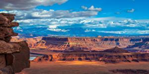 Обои для рабочего стола Штаты Парки Горы Панорама Пейзаж Скале Каньона Canyonlands National Park, Utah Природа