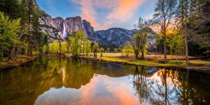 Фотографии США Парк Горы Река Йосемити Дерево Калифорния Природа