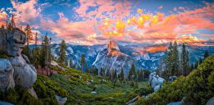 Картинки Америка Парк Пейзаж Панорама Горы Небо Йосемити Облачно Дерево Калифорния Природа