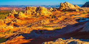 Фотографии США Пейзаж Панорамная Скалы White Pocket, Arizona Природа