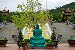 Фотографии Вьетнам Монастырь Скульптуры Храм Пагоды Лестница Truc Lam Ho Quoc Zen Monastery in Phu Quoc город