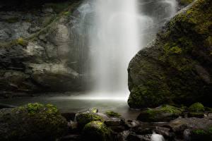 Фотография Водопады Камень Мох Природа
