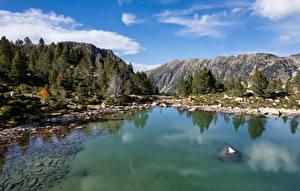 Обои Андорра Горы Озеро Lake Serra Mitjana Природа картинки