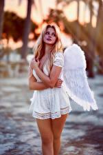 Картинка Ангелы Блондинка Позирует Платья Крылья Hannah Девушки