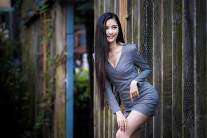 Картинки Азиаты Брюнетки Улыбка Поза Платье Смотрят девушка