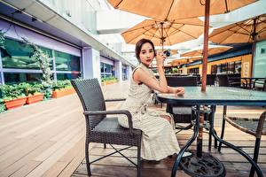 Картинки Азиатка Кафе Сидя Платья Взгляд