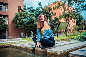 Картинки Азиаты Позирует Сидя Взгляд Шатенки молодая женщина