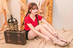 Обои Азиатки Сидящие Ноги Шатенка Коса Чемоданы Взгляд молодые женщины