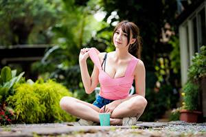 Обои Азиаты Сидит Поза Взгляд Девушки картинки