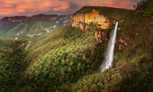 Картинка Австралия Парки Гора Леса Водопады Govetts Leap Falls Blue Mountains National Park