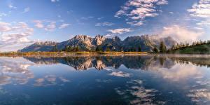 Картинки Австрия Горы Озеро Альпы Облака Отражение Kaisergebirge Природа