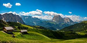 Фото Австрия Пейзаж Горы Дома Луга Природа