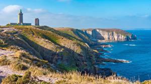 Картинки Берег Маяк Франция Cape Freel, Brittany