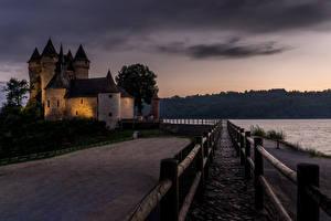 Фото Франция Замок Вечер Набережная Castle of Val