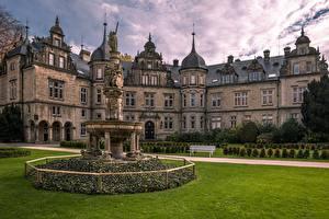 Картинка Германия Замок Ландшафтный дизайн Газоне Скамья Bückeburg Castle