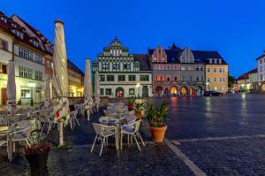 Обои для рабочего стола Германия Здания Вечер Городской площади Weimar город