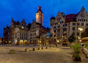 Фотографии Германия Здания Городская площадь Башня Leipzig, New Town Hall Города