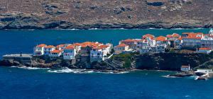 Обои для рабочего стола Греция Дома Побережье Andros Town город