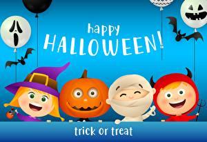 Обои для рабочего стола Хеллоуин Тыква Летучие мыши Шарики Лицо Текст Инглийские