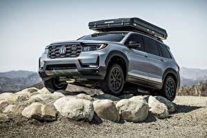 Обои для рабочего стола Honda Камни Внедорожник Серый Металлик Passport TrailSport Rugged Roads Project, 2021 авто