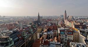Картинки Дома Польша Сверху Wroclaw, Silesia город