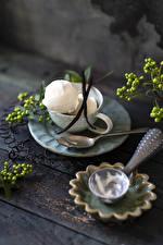 Обои Мороженое Доски Чашка Ложка Шарики Еда картинки