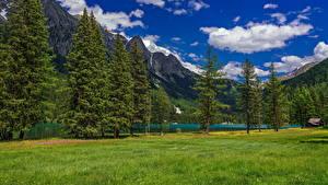 Фотографии Италия Гора Озеро Альп Облако Деревья Lake Anterselva
