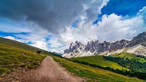 Фото Италия Горы Парки Альп Облака Puez-Geisler Nature Park, South Tyrol