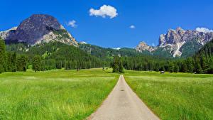 Обои Италия Горы Дороги Поля Пейзаж Альпы Trentino-Alto Adige Природа
