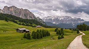 Картинки Италия Гора Дороги Пейзаж Альп Облако Trentino-Alto Adige Природа