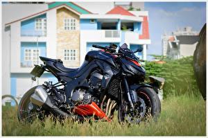 Обои для рабочего стола Кавасаки Сбоку Черные z1000 мотоцикл