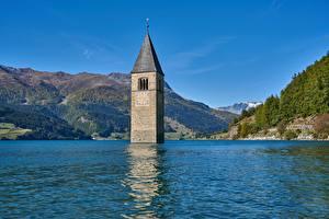 Фотография Озеро Гора Италия Башни Reschensee, South Tyrol, Reschensee Lago di Resia