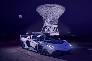 Обои Ламборгини Родстер Белых 2020 SC20 Автомобили