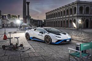Обои Lamborghini Белые Металлик 2021 Huracán STO машина