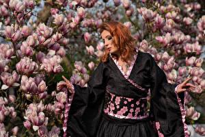 Картинки Магнолия Цветущие деревья Рыжие Кимоно Руки Frauke Dollinger