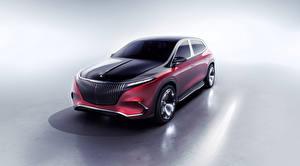 Фото Мерседес бенц Сером фоне Красная 2021 Concept Mercedes-Maybach EQS машины