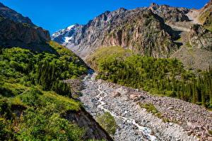 Фотография Гора Парк Ручеек Скале Ala Archa National Park, Kyrgyzstan Природа