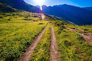 Картинка Горы Парки Дороги Солнца Ala Archa National Park, Kyrgyzstan