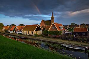 Обои Голландия Здания Вечер Лодки Водный канал Kolhorn Города