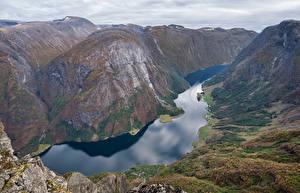 Фотография Норвегия Гора Фьорд Сверху Gudvangen Природа