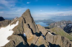 Обои Норвегия Горы Лофотенские острова Скала Geitgallien Природа картинки
