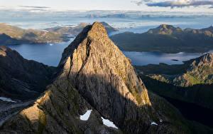 Фотография Норвегия Гора Лофотенские острова Скале Сверху Trakta