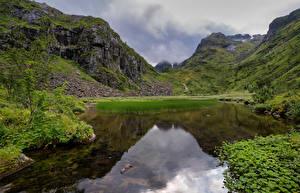 Фотография Норвегия Горы Фьорд Trollfjord Природа