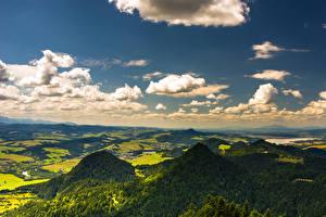 Фото Польша Небо Горы Поля Лес Облачно Pieniny