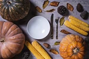 Обои Тыква Кукуруза Нож Тарелка Вилка столовая Шишки Еда картинки