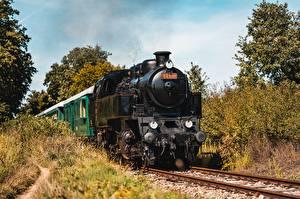 Фотография Железные дороги Поезда Ретро Спереди Движение