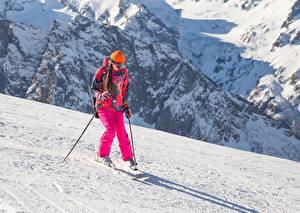 Фото Лыжный спорт Снег Униформа Девушки