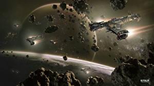 Обои для рабочего стола Star Conflict Звездолёт Планеты Астероиды Летит компьютерная игра Космос