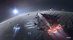 Фотографии Star Conflict Космолет Планеты Летящий Игры Космос