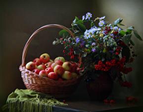 Фотографии Натюрморт Яблоки Ромашки Рябина Корзина Шиповник плоды Еда Цветы